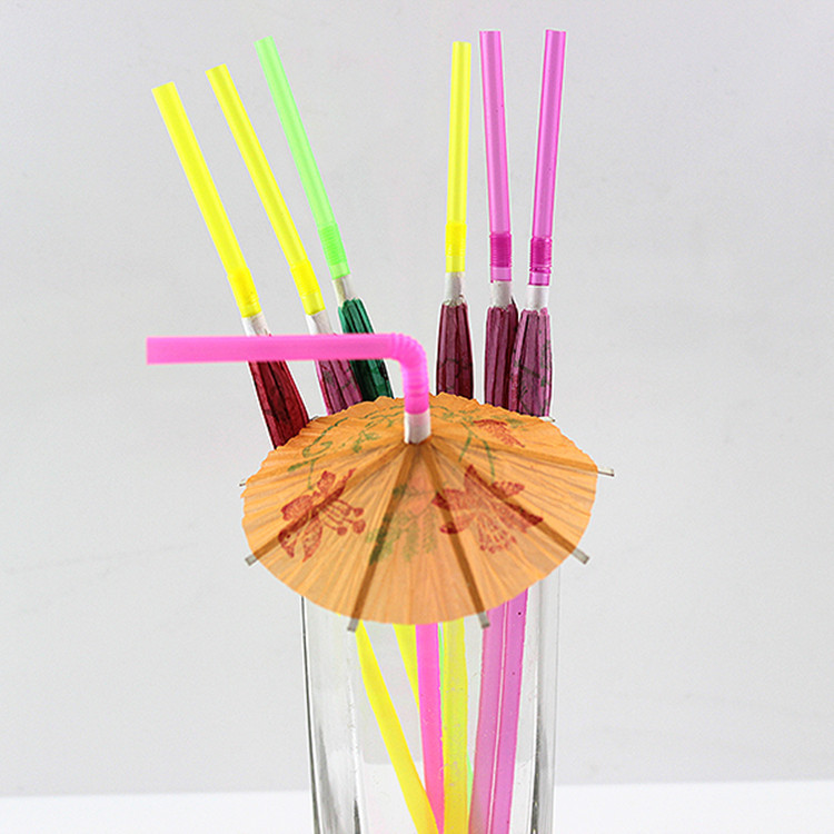 200pcs Disposable Straws Fluorescent straw 3D Paper Umbrella Cocktail Drinking Tubularis Bar Club DIY Party Decorations