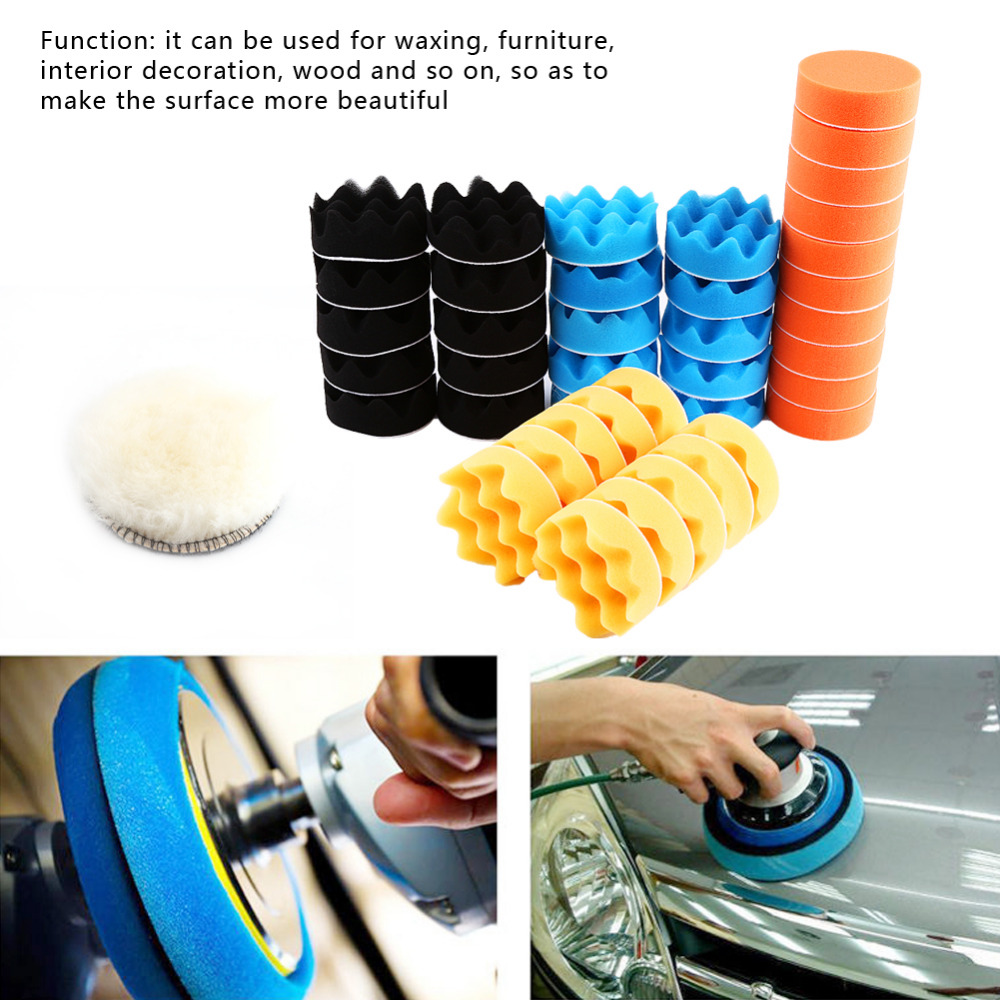50Pcs 3 Car Sponge Polishing Buffing Waxing Pad Drill Kit Tool polishing pad set for Car gross Polisher Buffer Wheel Kit