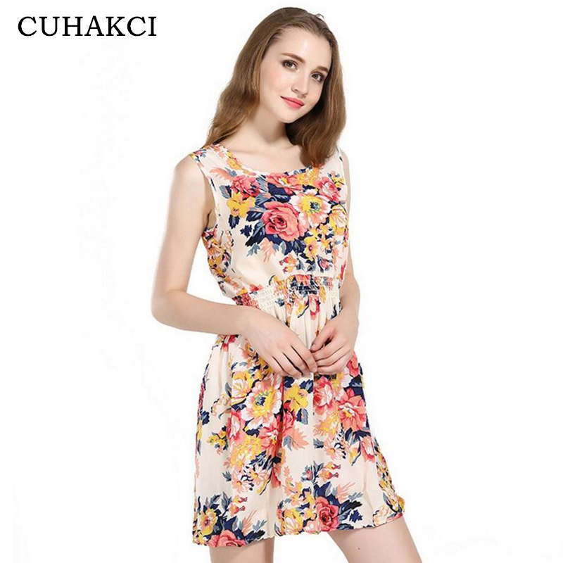 CUHAKCI Woman Beach Dress Summer Boho Print Clothes Sleeveless Party Dress Casual Short Sundress Plus Size Floral Dress S092 1