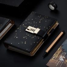 Kawaii A6 Diary Notebook Diary Journal Star Handbook Spiral Note Book DIY Agenda Lock Binder Business Notepad Gift Set+Pen+Tape