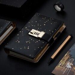 Kawaii A6 diario Notebook Bullet Diario Star manual espiral nota libro DIY Agenda bloqueo carpeta negocio Bloc de notas juego de regalo + pluma + cinta
