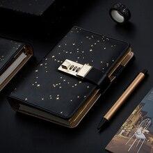 Kawaii A6 günlüğü dizüstü günlük defteri yıldız el kitabı Spiral not defteri DIY gündem kilidi Binder İş not defteri hediye seti + kalem + bant