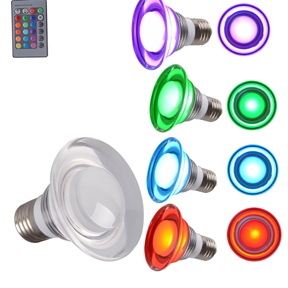 Magic Acrylic 3W GU10 E27 RGB LED Bulb 16 Color Change Lamp spotlight 85-265v for Home Party decoration with IR Remote [mingben] led bulb e27 rgb stage 16 colorful change lamp spotlight 110v 127v 220v home party wedding with ir remote