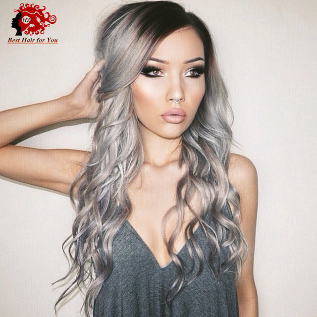 Side Part Glueless Lace Front Wigs Ombre Grey Two Tone Hair Color