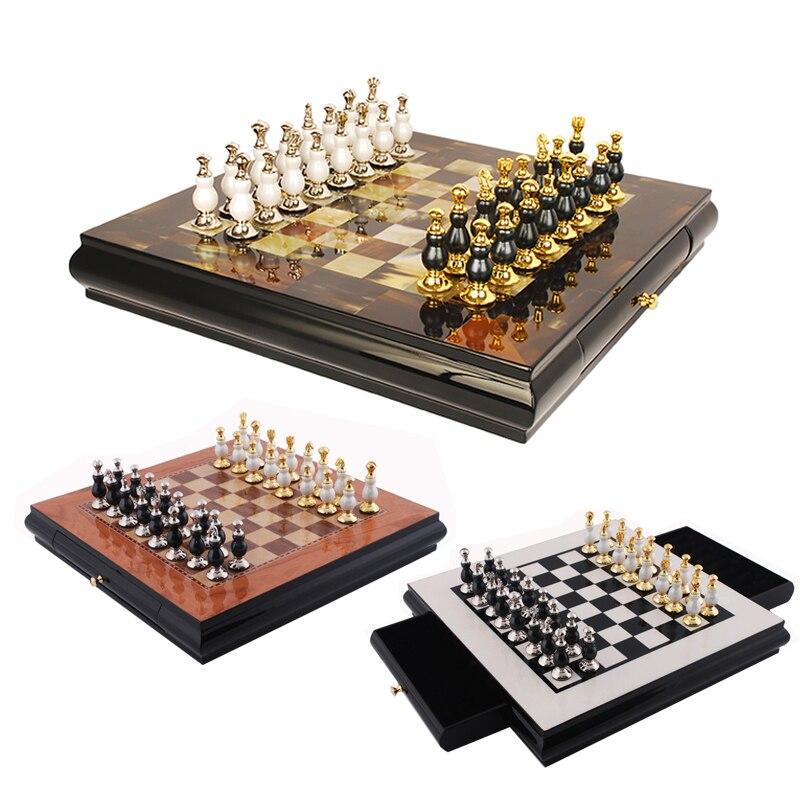 BSTFAMLY plastic kirsite chess set, home decoration chess, 40*40*4.7cm plastic box chessboard, lacquer process chess game, LA64 plastic intelligent connect four game set