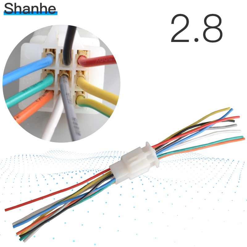 2.8mm2 3 4 6 9 Pin Otomotif 2.8 Listrik Kawat Konektor Pria Wanita Terminal Kabel Plug Kit Motor Ebike Mobil dengan Cabl
