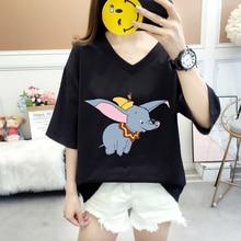 Plus Size 3XL Fashion Dumbo Cartoon T shirt Cute Women Short sleeve Elephant Casual Tee Top Female Red T-Shirts Trend Clothing