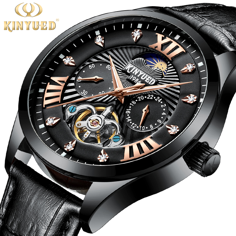 kinyued brand men s watches automatic mechanical watch men sport military wrist watches man stainless steel black clock relojes KINYUED Brand Men Watches Automatic Mechanical Watch Tourbillon Sport Clock Leather Casual Business Wristwatch Relojes Hombre
