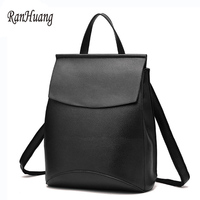 RanHuang Women Casual Backpack PU Leather Travel Bag Korean School Bags For Teenagers Girls Black Red Blue mochila feminina a290