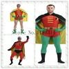 2017 Batman Robin Cosplay Costume Man Bodysuit Spandex Lycra Zentai Full Body Skin Tight Suit Halloween