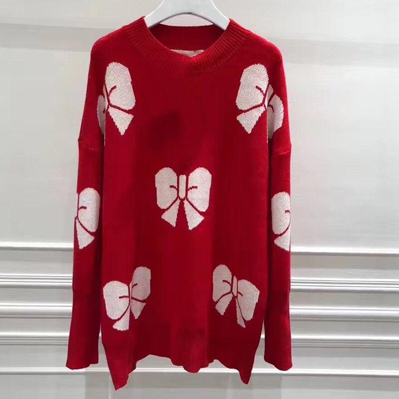 Красный свитер женщина лук с принтом пуловер Элитный бренд свитер женщина кашемировый свитер Для женщин О образным вырезом с длинными рука