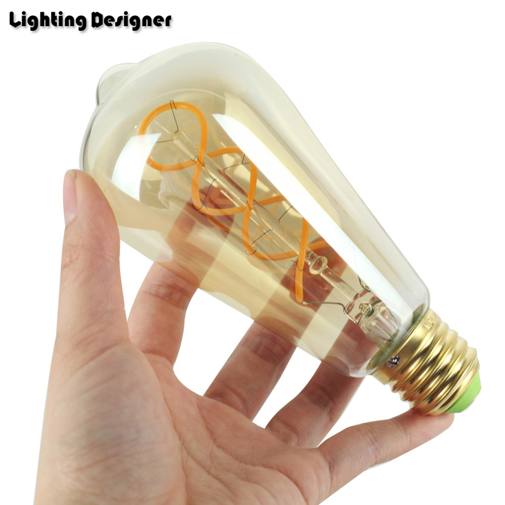St64 Double Helix Edison Bulb Led E27 Dimmable Vintage Filament Wiring A Lamp Retro Light Fixture 220v 4w Lighting Amber Clear Spiral In Bulbs Tubes From