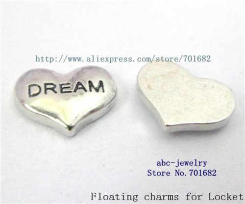 Venta al por mayor 10 piezas FC102 sueño corazón flotante medallón encantos para la memoria de amor medallón como mamá y papá la abuela hermana amiga hija regalo