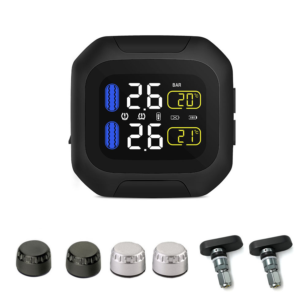 Waterproof Motorcycle Tire Pressure Monitoring System Super Waterproof Sun Protection Real Time Monitoring TPMS System 2 Sensor adapter