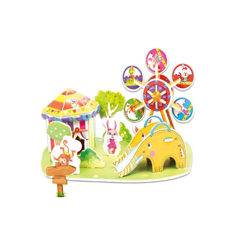 Бумага паззлами раннего обучения Строительная сборка детей украшения дома английские детские игры раннее образование игрушки - Цвет: YJL80928765D