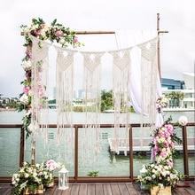 Handmade Hanging Wall Tapestry Macrame Wedding Ceremony Backdrop Wall Art Pure cotton thread Boho tassel curtain  photo backgrou