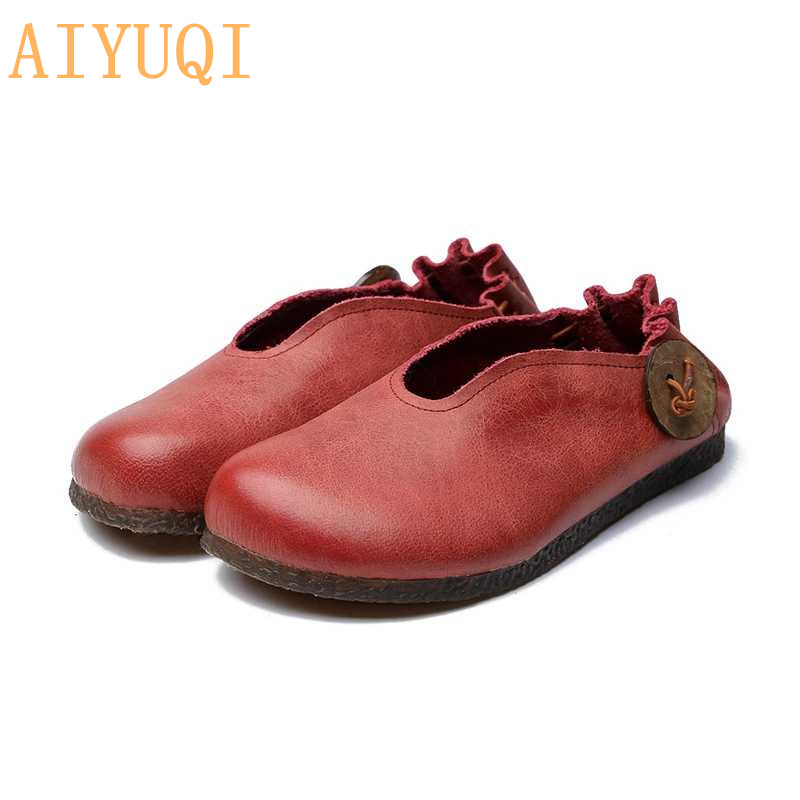 AIYUQI women flat shoes 2019 spring new genuine leather women flat shoes casual loafers Retro mom soft bottom shoes in Women 39 s Flats from Shoes
