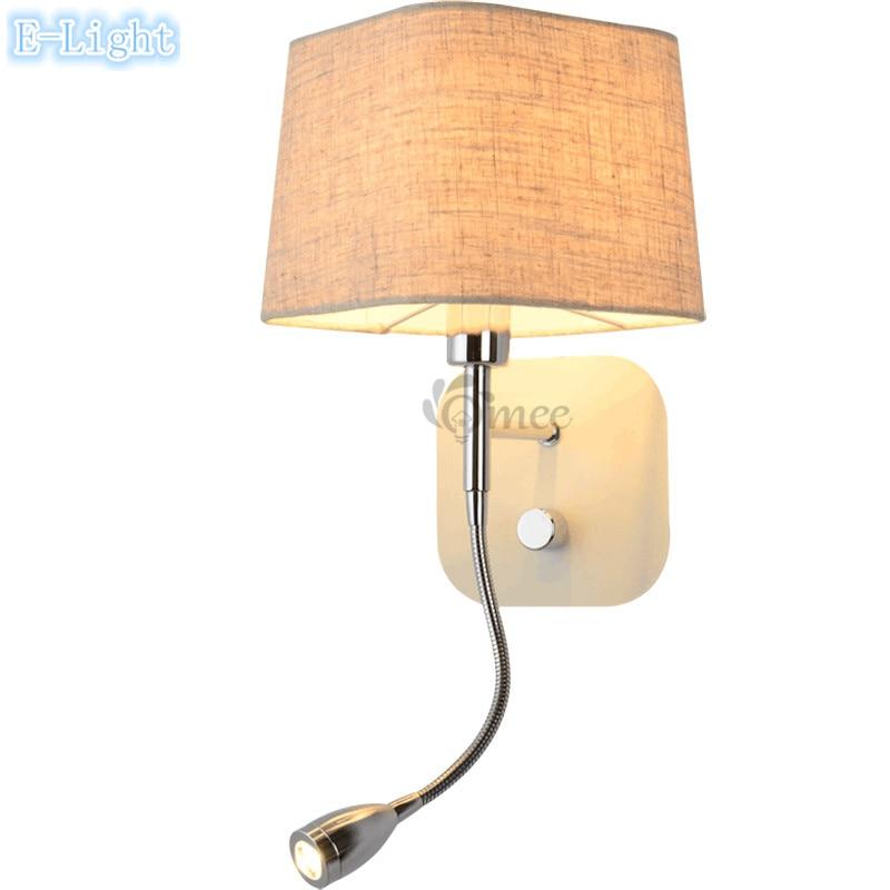Black khaki big lamp cover bedside wall lamps led reading for Bedside wall lamps for reading