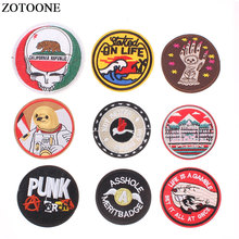 ZOTOONE Round Punk Embroidered Iron on Patches for Clothing Cheap DIY Letter Motif Stripes Clothes Stickers Astronaut Badges E