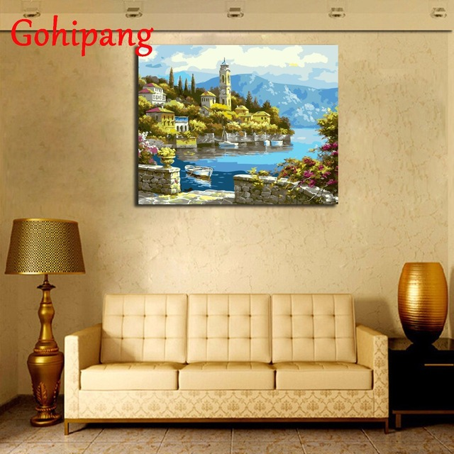 Seaside Building Landscape DIY Painting By Numbers Modern Wall Art ...
