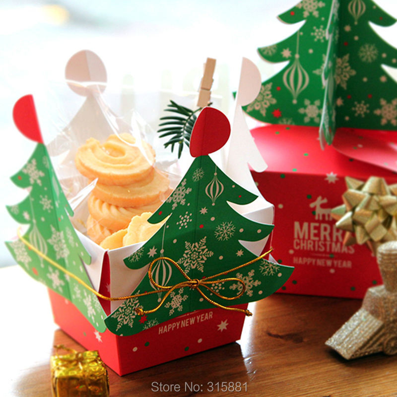 Image 4 - Merry Christmas tree Gift Box ,Cookie Cholocate Food Paper Boxes,Christmas Apple Box, Christmas Gift Box 30pcs/lot-in Gift Bags & Wrapping Supplies from Home & Garden
