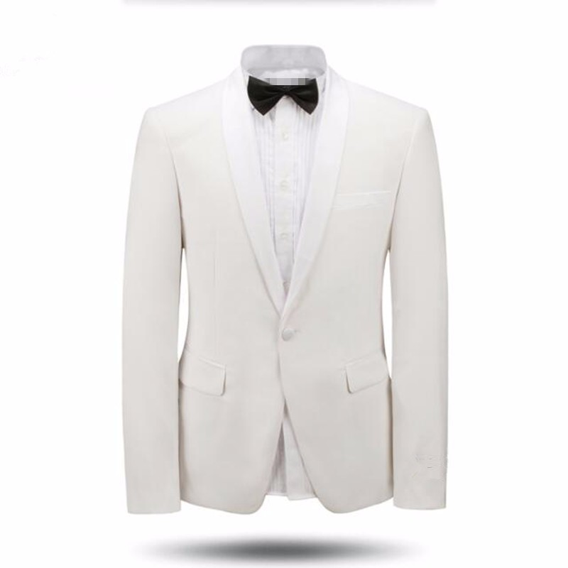 5.1White and black men suits jacket shawl collar wedding tuxedos jacket custom made fashion formal business suits jacket