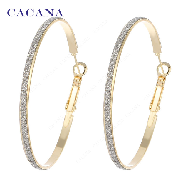CACANA Hoop Long Earrings For Women Big Round With Flash Point Bijouterie Hot Sa