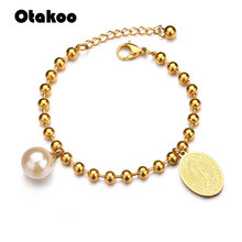 Otakoo Religion Round Pearl Charm Bracelet Women Gold Stainless Steel Virgin Mary Beads Bracelets & Bangles Jewelry(China)