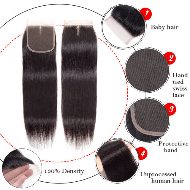 MOBOK Hair Remy Brazilian Straight Human Hair Lace Closure 4*4 Middle/free/three Part Swiss Lace Closure Natural Color 8-22 Inch