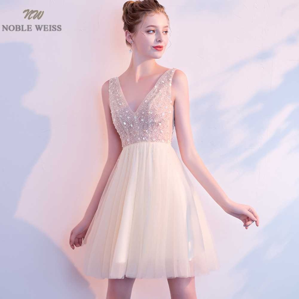 NOBLE WEISS Mini Prom Dress Sexy V-Neck Beading Tulle Junior School Prom Gown Custom Made Special Occasion Dresses