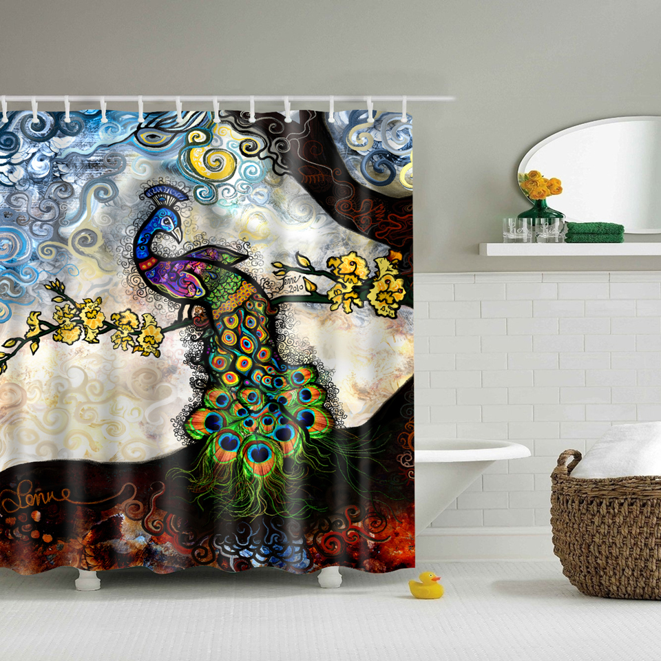 Svetanya Peacock Print Shower Curtains Bath Products Bathroom Decor With Hooks Waterproof 71x71 In From Home Garden On Aliexpress