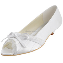 Custom Made More Colors EL10009 White Women Bridal Party Low Heels Prom Pumps Peep Toe Lace Trim Bow Pleated Satin Wedding Shoes