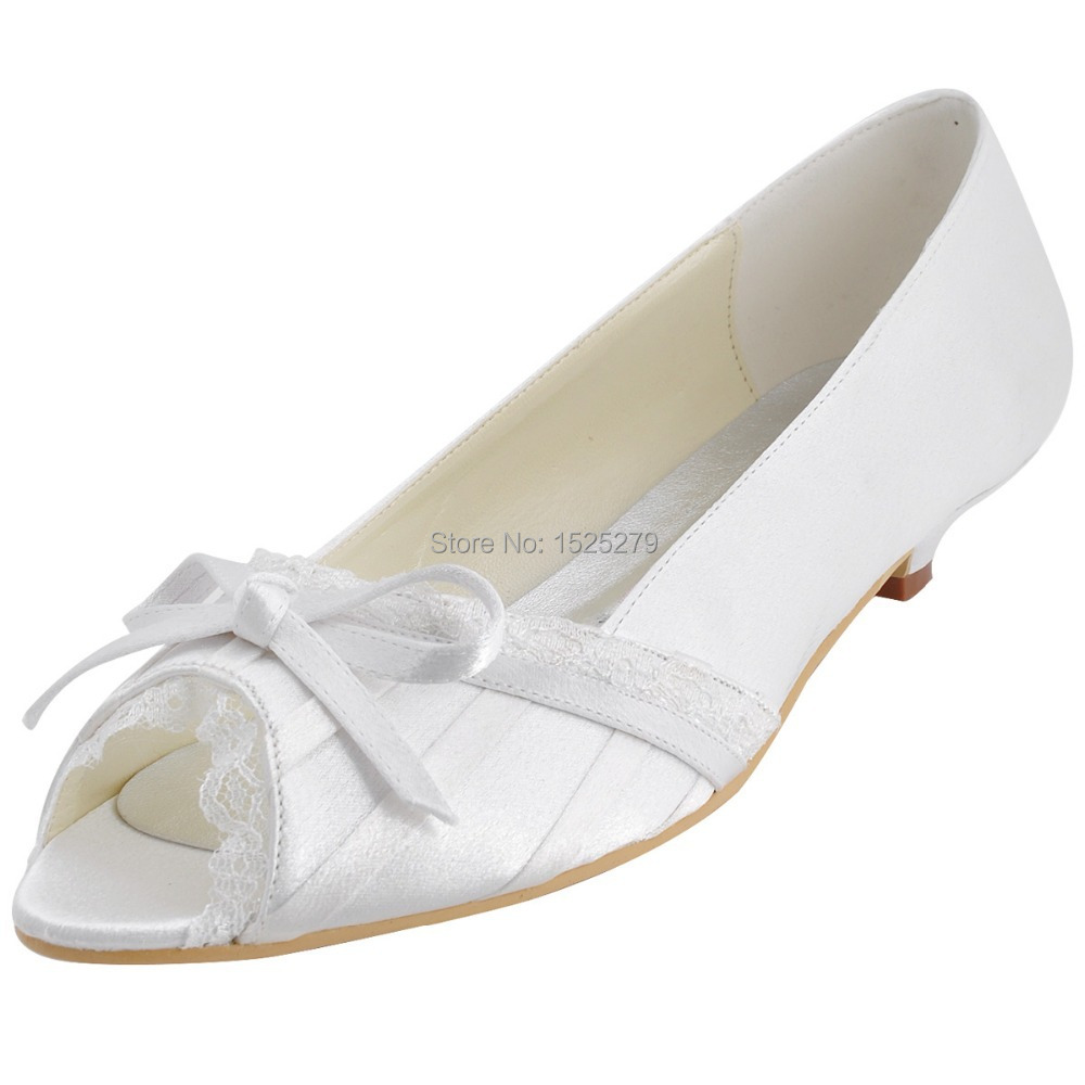 Custom Made More Colors EL10009 White Women Bridal Party Low Heels Prom Pumps Peep Toe Lace Trim Bow Pleated Satin Wedding Shoes more colors el 035 women green teal peep toe bridal party sandals rhinestones t straps buckle strap satin wedding shoes