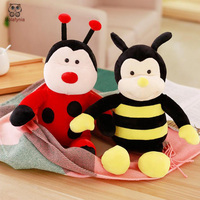 BOLAFYNIA Cartoon cute sitting bee beetle doll Children plush stuffed toy baby kids toy for Christmas birthday gift