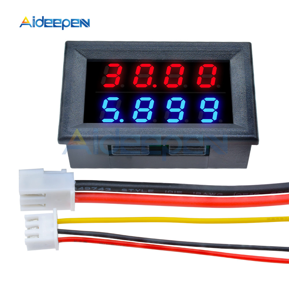 0 28 39 39 Digital Voltmeter Ammeter 4 Bit 5 Wires DC 100V 200V 10A Voltage Current Meter Red Blue Red Red LED Dual Display Amp Volt in Current Meters from Tools