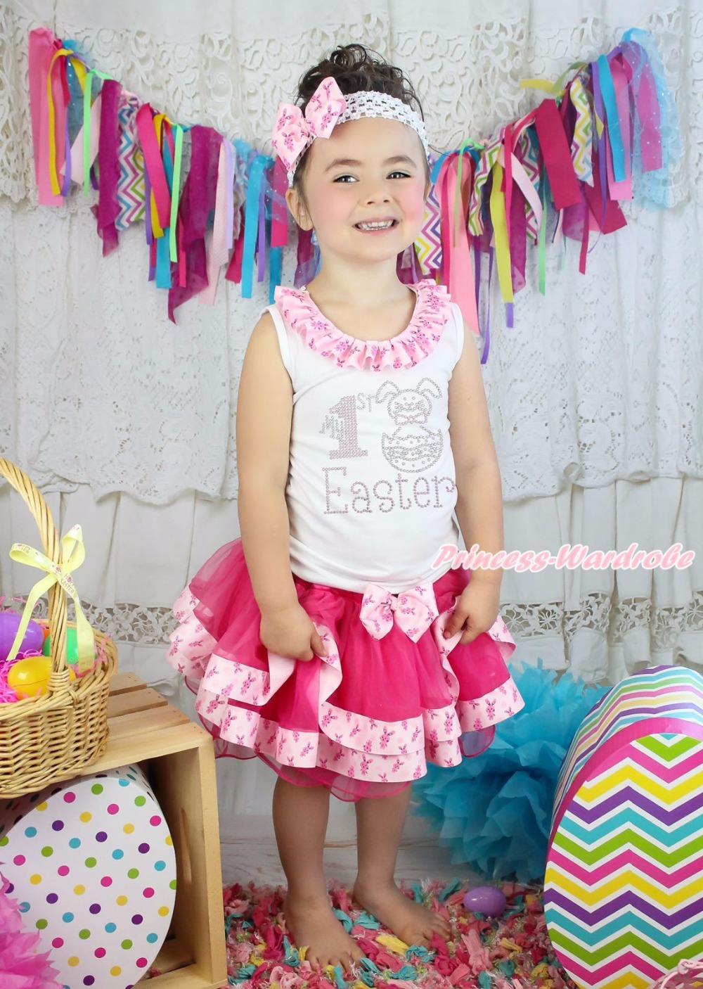 ФОТО White Top My 1ST Easter Egg Bunny Rabbit Hot Pink Satin Trim Skirt Girls NB-8Y