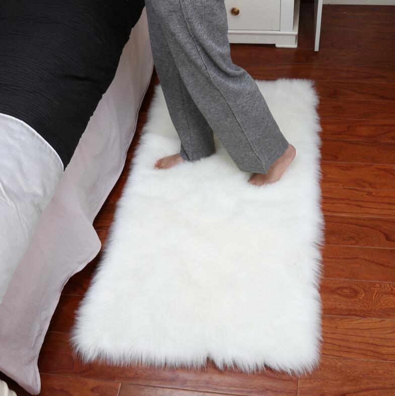 Faux tapis doux poilu nuage salon tapis peau de mouton doux chambre Faux tapis siège Pad plaine peau fourrure tapis lavable tapis