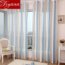 Chenille Curtains Voile Modern Simple Vertical Striped Window Panel Yarn Kitchen Balcony Tulle Custom Made