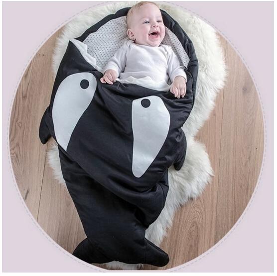 90*73cm Cute Cartoon Shark Baby Sleep Bag Winter Baby Sleep Sack Warm Baby Blanket Warm Swaddle