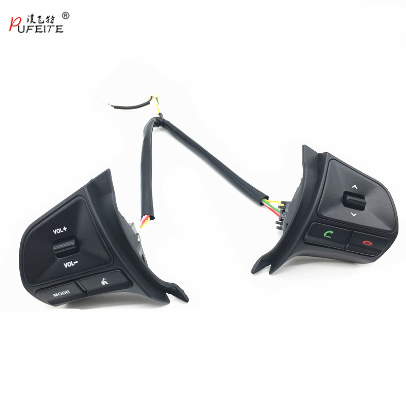 PUFEITE Multi function Buttons apply for KIA K2 RIO Car Steering Wheel Switch volume mode phone switches car styling