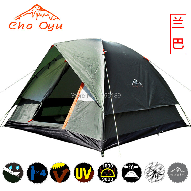 200*200*130cm 4 people family Outdoor camping tent double layer waterproof for hiking backpacking sightseeing travelling high quality outdoor 2 person camping tent double layer aluminum rod ultralight tent with snow skirt oneroad windsnow 2 plus
