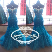 2019 Real Photo Mermaid Blue Sequined Lace Evening Dress Prom Strapless with Crystals and Sequins