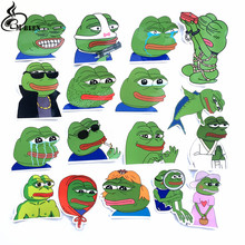 17Pcs/Lot Pepe Sad Frog Funny Sticker For Car Laptop Luggage Skateboard Motorcycle Snowboard Phone Decal Toy waterproof Stickers(China)