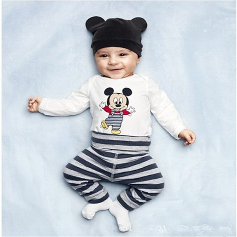 Newborn Baby s Sets 3pcs Summer Casual Cotton Boys Clothes Cartoon Mickey Long Sleeve Bodysuits Pants