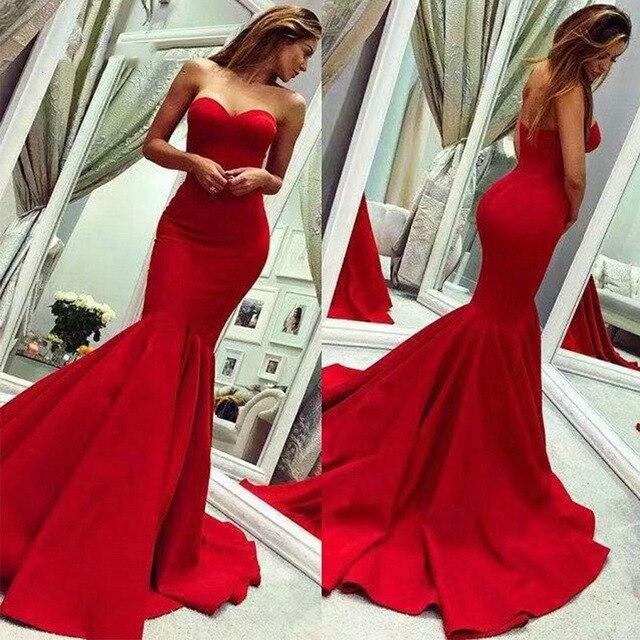 Offre spéciale rouge sirène chérie robe de bal 2019 Satin longue robe sans manches Sexy dos nu conception Simple femmes robe