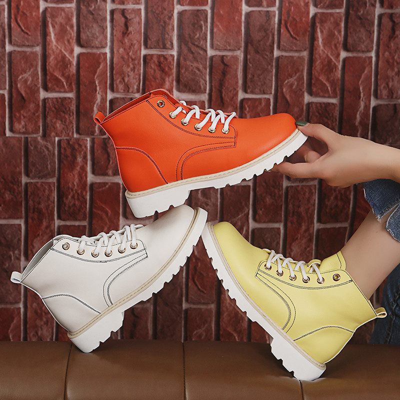COOTELILI Ankle-Boots Woman Flats Lace-Up Rubber Female for Shoes