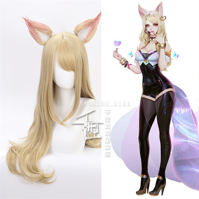 Jogo personagem kda k/da ahri cosplay perucas 70cm com orelhas kda resistente ao calor peruca de cabelo sintético perucas cosplay raposa