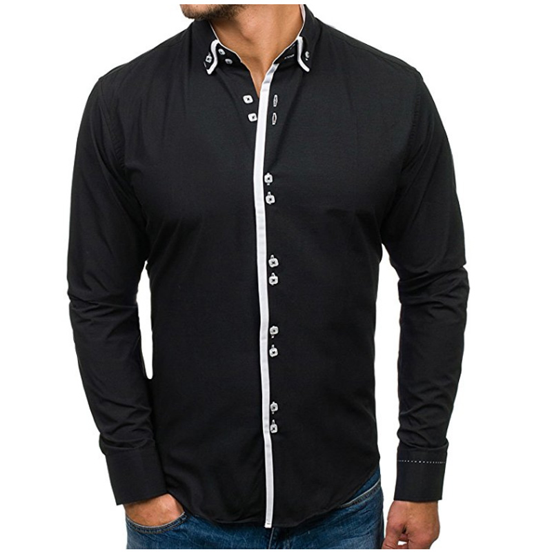 Men Shirt 2018 Brand Male Long Sleeve Shirts Casual Solid Multi-Button Hit Color Slim Fit Dress Shirts Mens Hawaiian XXXL