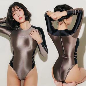 Lunamy Swimsuits Swimwear Bodysuit Glitter Japanese One-Piece Shiny Women Leotards Sexy