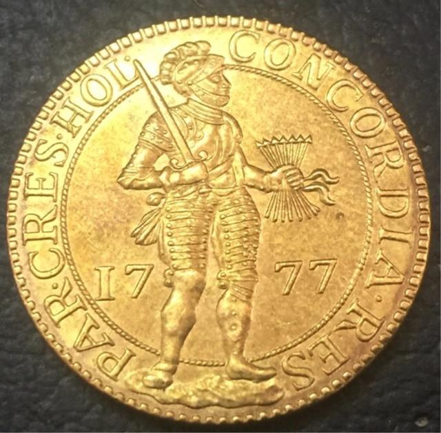 1777 Dutch Republic Holland 2 Dukaten Gold Copy Coin In Non